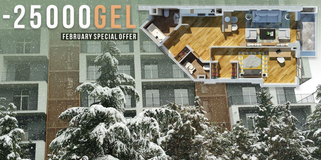 25000GEL discount on premium class apartments in Tbilisi